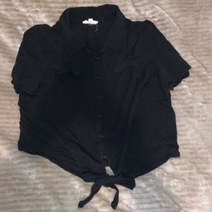 Cropped black button up shirt